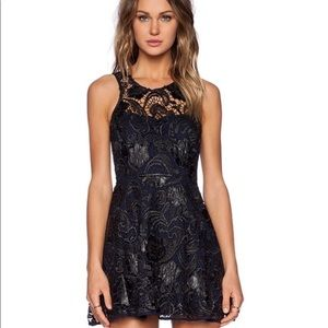 Lovers + Friends Black Guipure Lace Dress